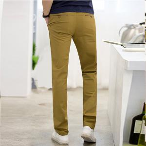 Baiyuan Trousers Casual Slim Fit Mens Pants Khaki -