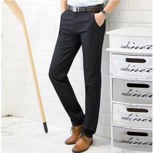 Baiyuan Trousers Casual Slim Fit for Mens Pants Black - BLACK 2R2610# 40