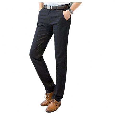 Hot Baiyuan Trousers Casual Slim Fit for Mens Pants Black