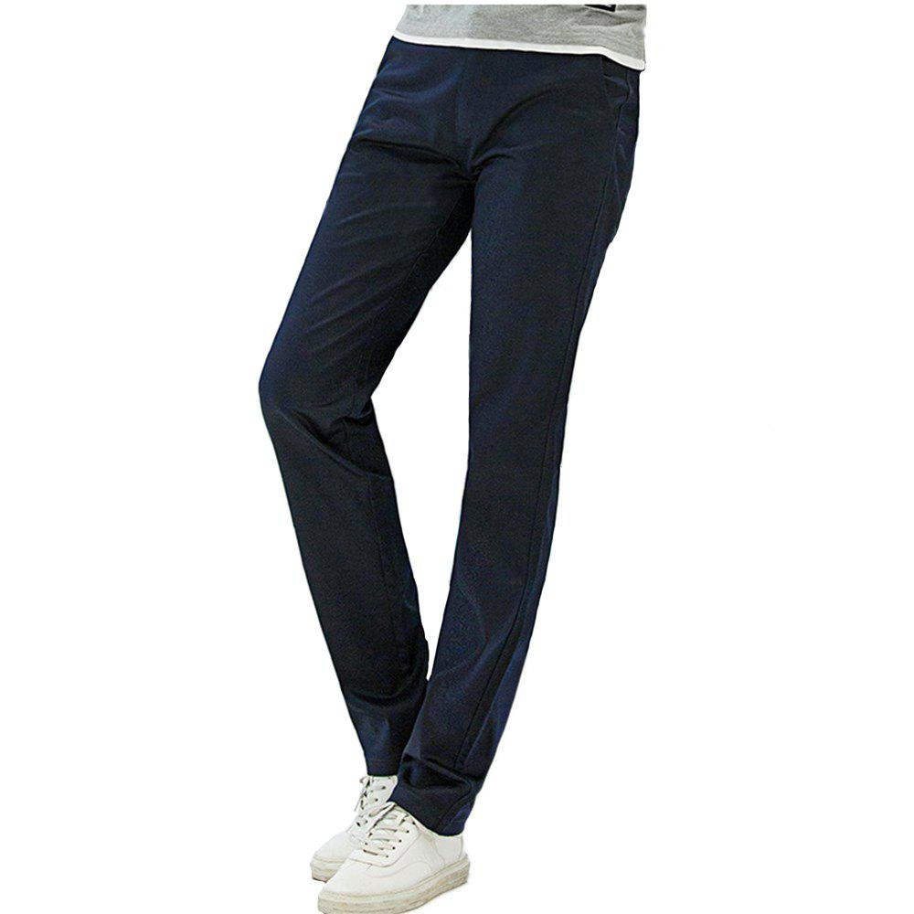 Fashion Baiyuan Trousers Casual Slim Fit Mens Pants Dark Blue