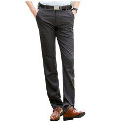 Baiyuan Trousers Casual Slim Fit Mens Pants Dark Grey -