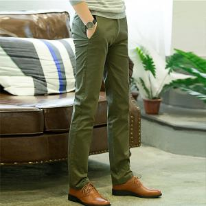 Baiyuan Trousers Casual Slim Fit Mens Pants Green - GREEN 5919/6319# 40