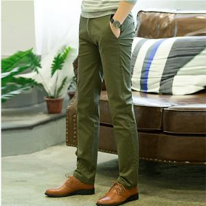 Baiyuan Trousers Casual Slim Fit Mens Pants Green - GREEN 5919/6319# 38