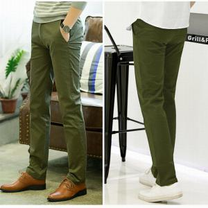 Baiyuan Trousers Casual Slim Fit Mens Pants Green - GREEN 5919/6319# 34
