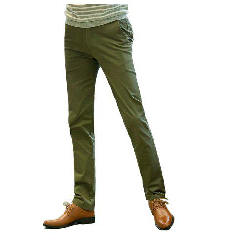 Unique Baiyuan Trousers Casual Slim Fit Mens Pants Green GREEN 5919/6319# 34