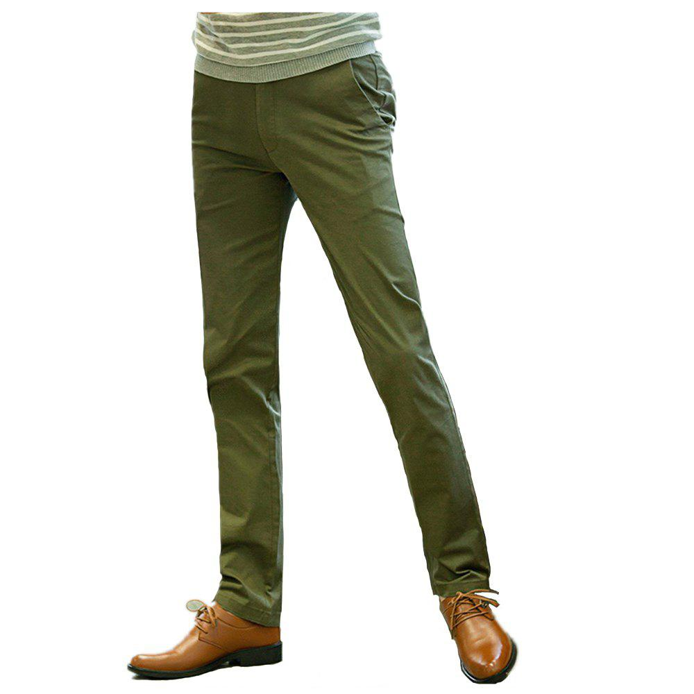 Store Baiyuan Trousers Casual Slim Fit Mens Pants Green