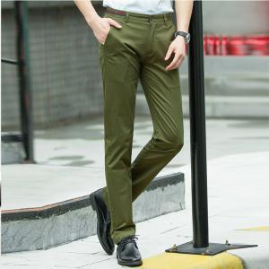 Baiyuan Trousers Casual Slim Fit Mens Pants Army Green -