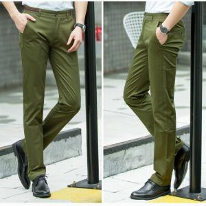 Baiyuan Trousers Casual Slim Fit Mens Pants Army Green - ARMY GREEN 36