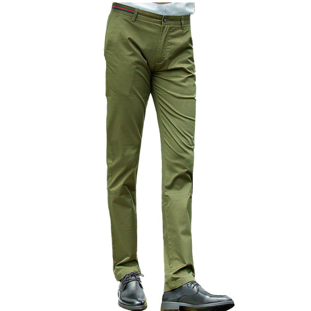 Trendy Baiyuan Trousers Casual Slim Fit Mens Pants Army Green