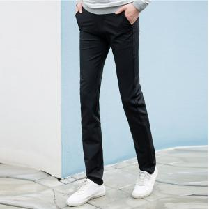 Baiyuan Trousers Autumn Casual Slim Fit for Man Long Pants Black -