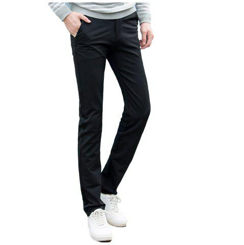 Discount Baiyuan Trousers Autumn Casual Slim Fit for Man Long Pants Black