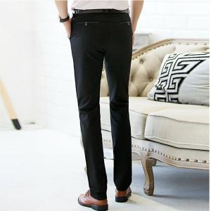 Baiyuan Trousers Autumn Casual Slim Fit for Mens Long Pants Black -