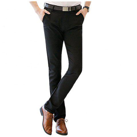 Sale Baiyuan Trousers Autumn Casual Slim Fit for Mens Long Pants Black