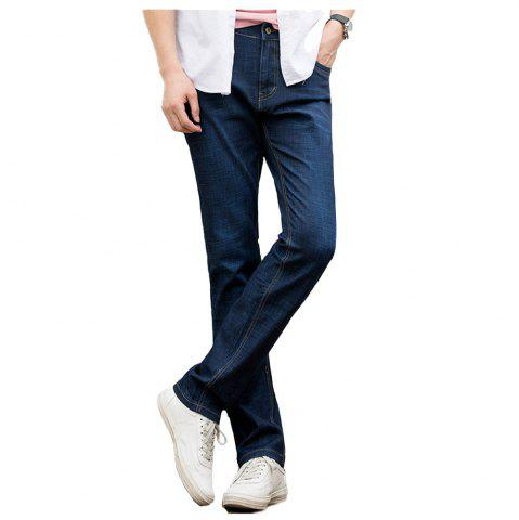 Fashion Baiyuan Trousers Casual Slim Fit Mens Jeans Blue