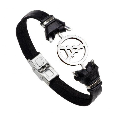 Store Magnetic Buckle Leather Bracelet Personality Tower Bracelets BLACK 2R2610#
