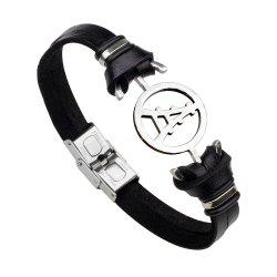 Magnetic Buckle Leather Bracelet Personality Tower Bracelets - BLACK 2R2610#