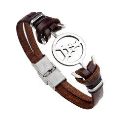 Magnetic Buckle Leather Bracelet Personality Tower Bracelets - BROWN #26