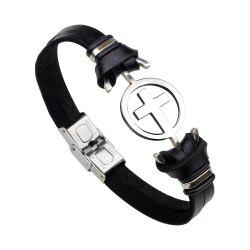 Stainless Steel Bracelet with Cross Magnetic Buckle Leather Bracelet - BLACK 2R2610#