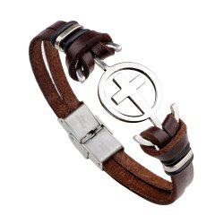 Stainless Steel Bracelet with Cross Magnetic Buckle Leather Bracelet -