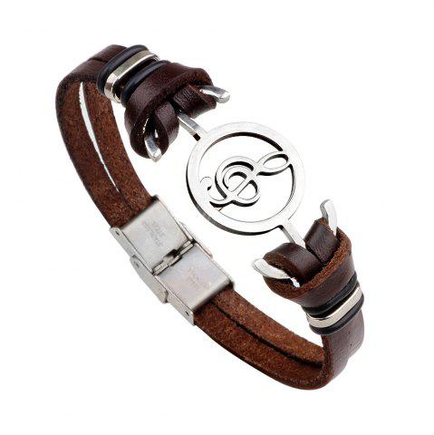 Sale Note Stainless Steel Leather Bracelet - BROWN #26  Mobile