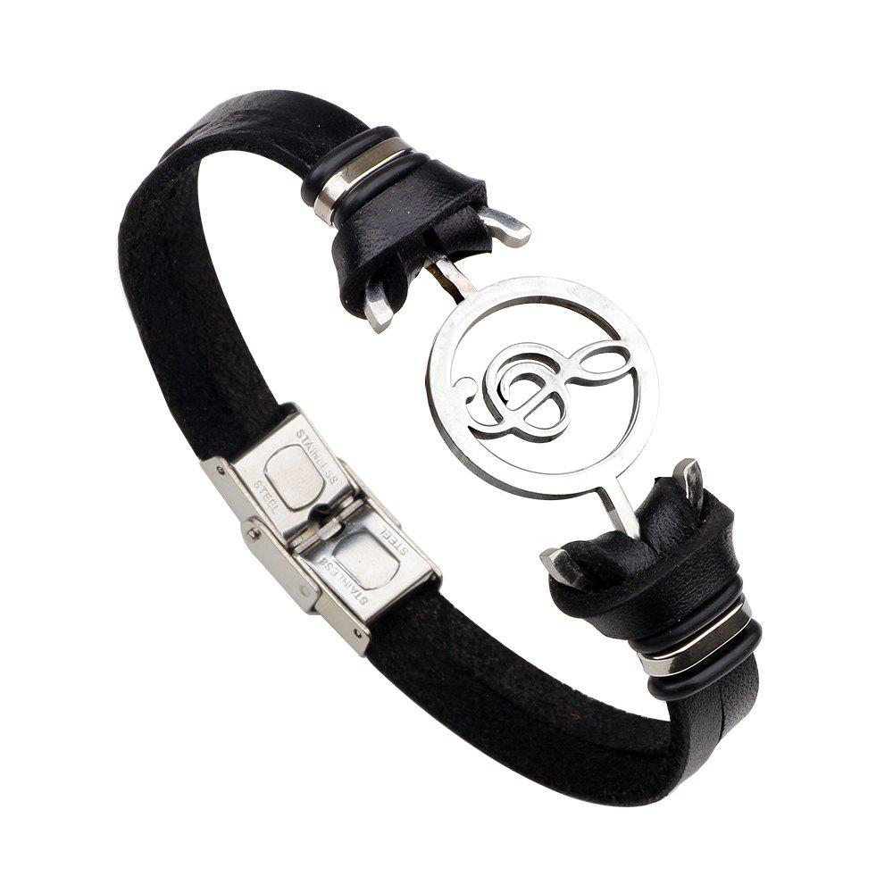 Shops Note Stainless Steel Leather Bracelet