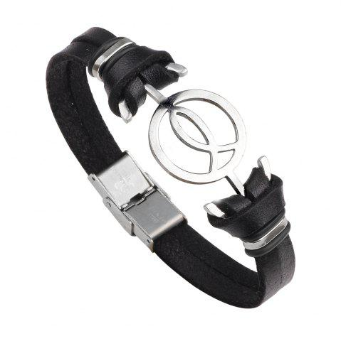 Cheap Anchor Stainless Steel Magnetic Buckle Leather Bracelet for Men - BLACK 2R2610#  Mobile