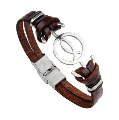 Chic Anchor Stainless Steel Magnetic Buckle Leather Bracelet for Men
