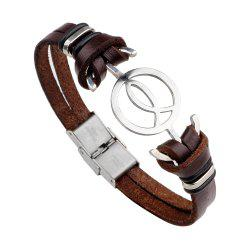 Anchor Stainless Steel Magnetic Buckle Leather Bracelet for Men -