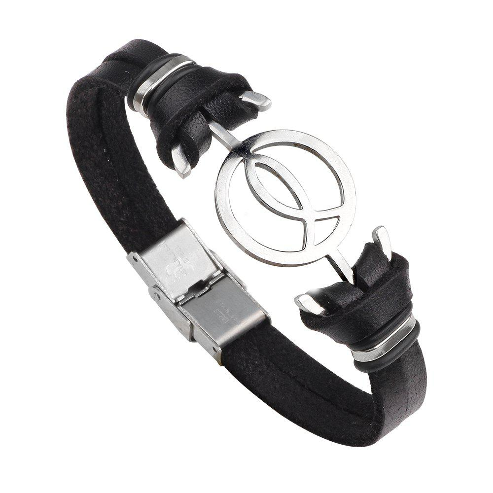 Cheap Anchor Stainless Steel Magnetic Buckle Leather Bracelet for Men