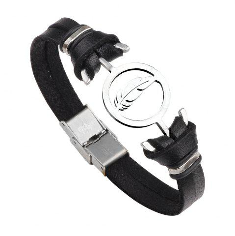 Discount Punk Contracted Leather Bracelet Braided Stainless Steel Anchor Feathers