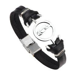 Punk Contracted Leather Bracelet Braided Stainless Steel Anchor Feathers -