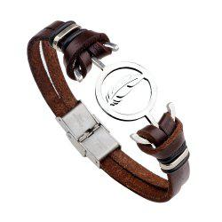 Punk Contracted Leather Bracelet Braided Stainless Steel Anchor Feathers - BROWN #26