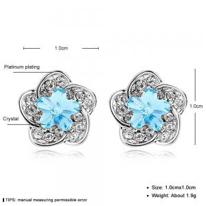 Sterling Silver Aqua Jeweled Flower Stud Earrings - SILVER AND BLUE