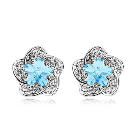 Cheap Sterling Silver Aqua Jeweled Flower Stud Earrings - SILVER AND BLUE  Mobile