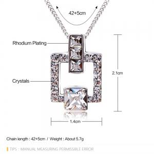 Austrian Crystal Love Square Silver Plated Zircon Necklace Delicate Fashion Jewelry - FROST