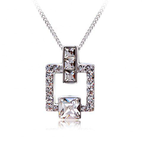 Affordable Austrian Crystal Love Square Silver Plated Zircon Necklace Delicate Fashion Jewelry - FROST  Mobile