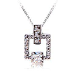 Austrian Crystal Love Square Silver Plated Zircon Necklace Delicate Fashion Jewelry -