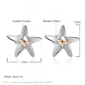 Ouxi Starfish Stud Earrings with White Crystals for Girls - OYSTER