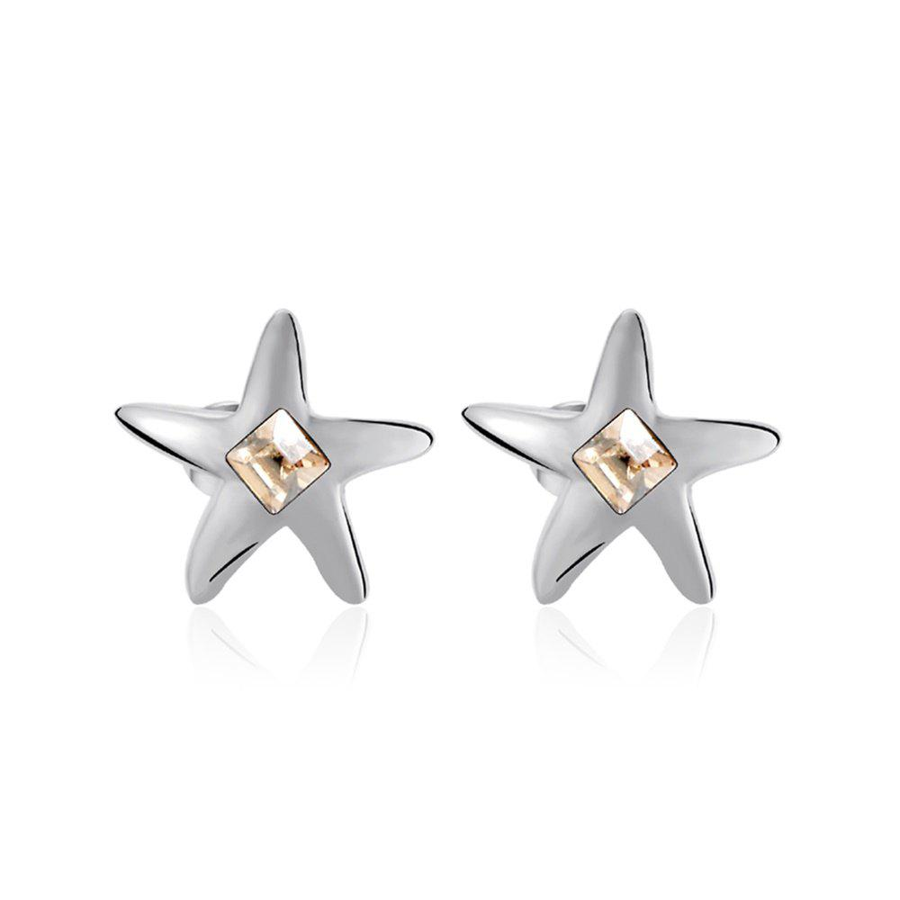 Fashion Ouxi Starfish Stud Earrings with White Crystals for Girls