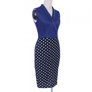 Women Elegant Sleeveless Cocktail Polka dots Patchwork Vintage Casual Wear To Work Office Business Bodycon Pencil Dress -