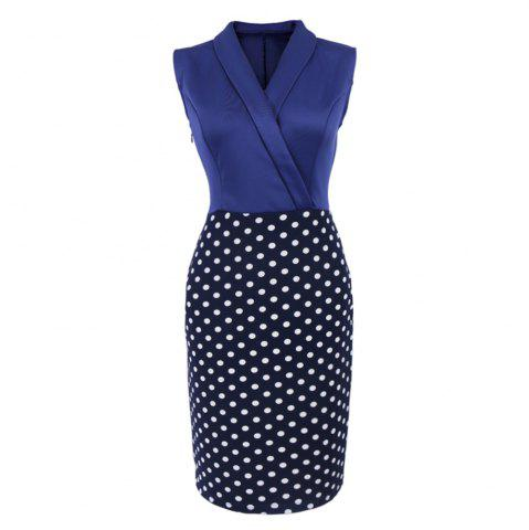 Unique Women Elegant Sleeveless Cocktail Polka dots Patchwork Vintage Casual Wear To Work Office Business Bodycon Pencil Dress