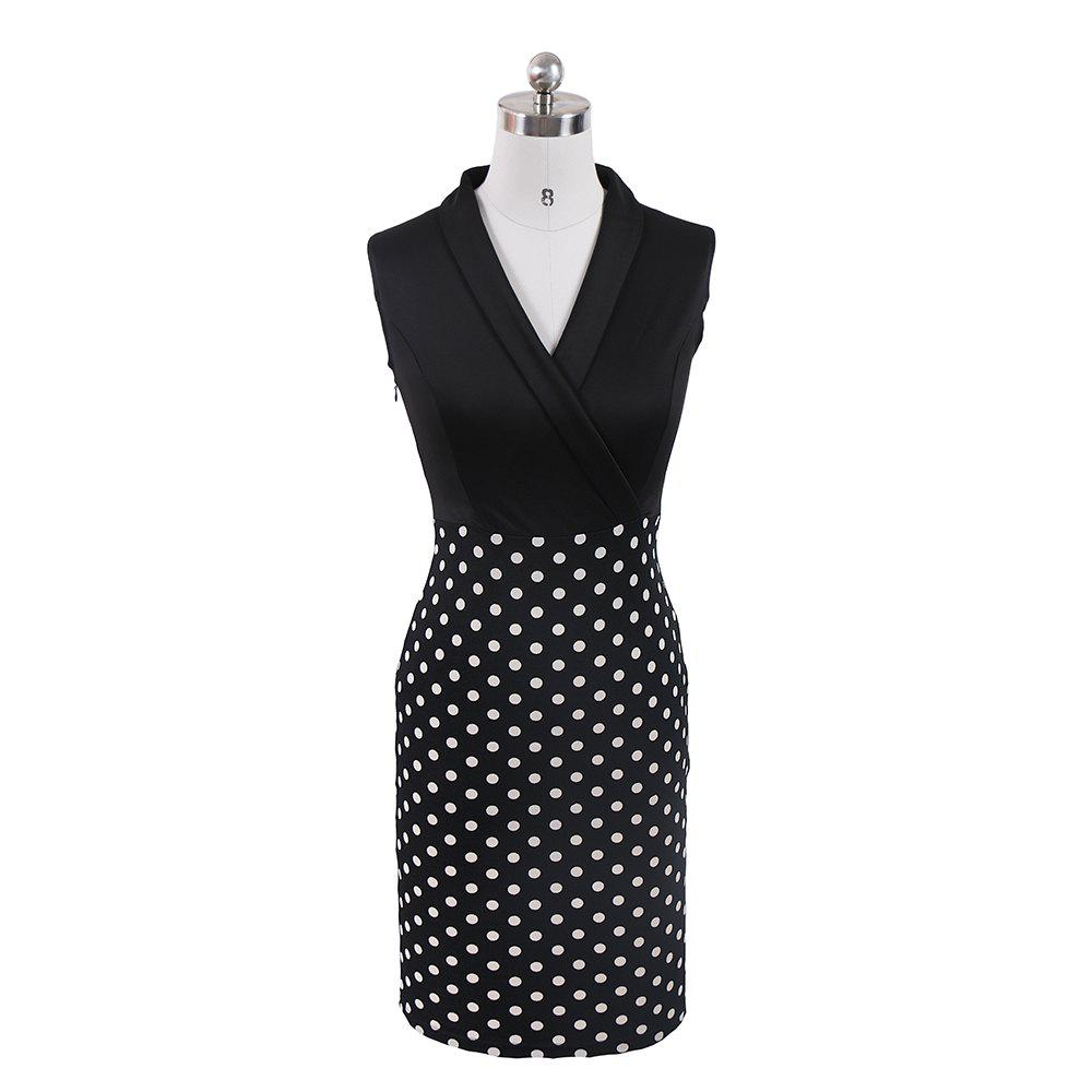 Store Women Elegant Sleeveless Cocktail Polka dots Patchwork Vintage Casual Wear To Work Office Business Bodycon Pencil Dress