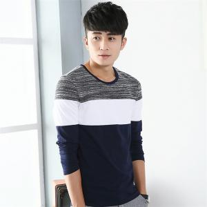 Mens Trend Products Hit Color Round Neck Long Sleeve T-Shirt - BLUEBELL L