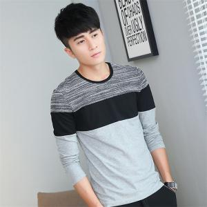 Mens Trend Products Hit Color Round Neck Long Sleeve T-Shirt -
