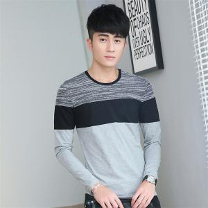 Mens Trend Products Hit Color Round Neck Long Sleeve T-Shirt - GRAY L