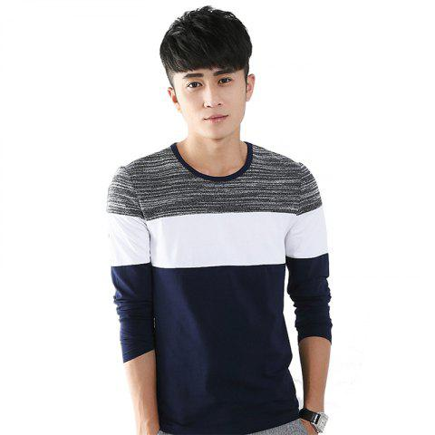 Discount Mens Trend Products Hit Color Round Neck Long Sleeve T-Shirt
