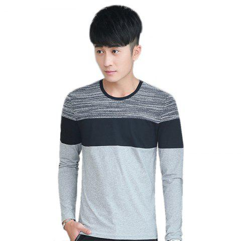 Buy Mens Trend Products Hit Color Round Neck Long Sleeve T-Shirt - 3XL GRAY Mobile