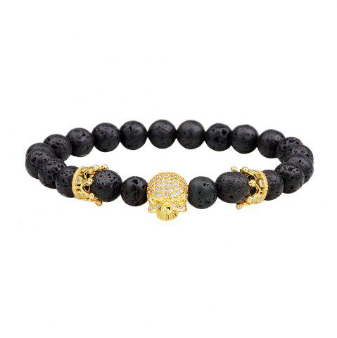 Fashion Energy Lava-Rock Crown Skull Yoga Bracelet with Diamond