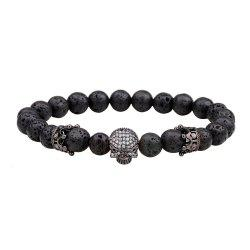 Energy Lava-Rock Crown Skull Yoga Bracelet with Diamond -