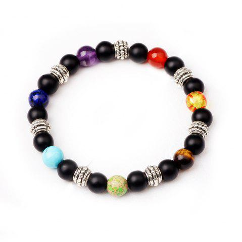 Sale 7 Colour Agate Beads By Hand Black Frosted Yoga Energy Beads Bracelet 8MM - BLACK 2R2610#  Mobile